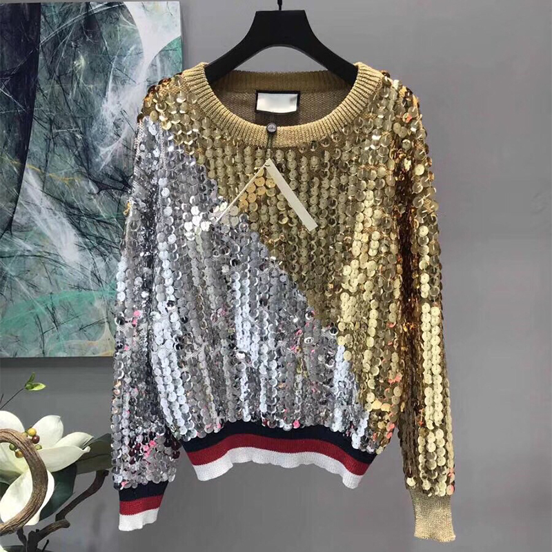 Fashion Long Sleeves Pullovers 2018 Club Wear Sequins Patchwork Sweatshirt For Women Luxury Casual Tops