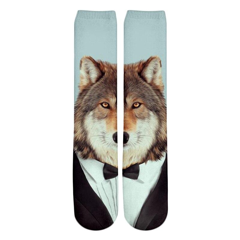 PLstar Cosmos Drop shipping 2018 New style Fashion Knee High Socks Animal starry sky hipster wolf Print 3d Men's Women's Sock 2