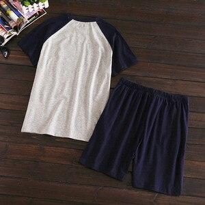 Image 2 - Più il formato 100% pantaloncini di cotone pigiama set degli uomini di Estate del manicotto del bicchierino degli indumenti da notte per il maschio Coreano pijama hombre pigiama homme