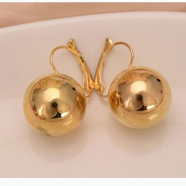 Gold Silver Big Drop Earrings for women Fashion Jewelry Round Ball Dangling Earr