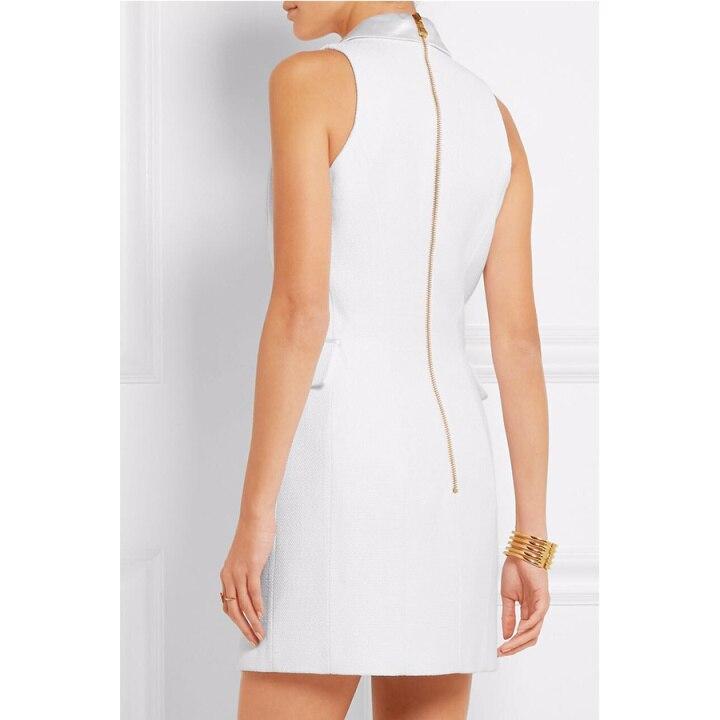 Col Vêtements Carré Genou Gaine Robe Mini dessus Blanc Nouvelle As Bouton Pic D'été Sans Robe 2017 Manches Solide Arrivée Occasionnel Du Femme CCqXzYw