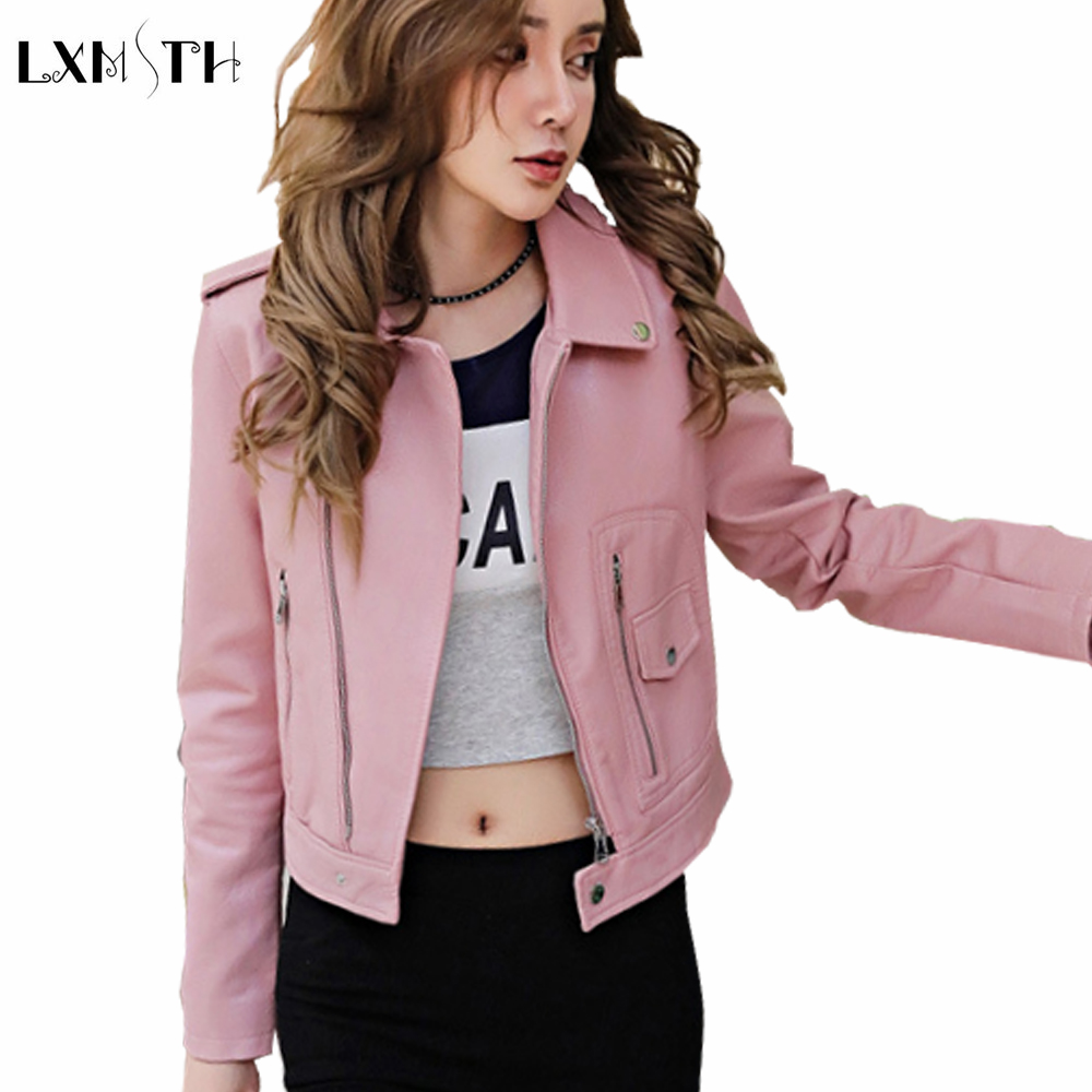2018 Spring Autumn Fashion Woman Pink Red Yellow Faux Leather Turn Down Collar Biker Jacket Collar Long Sleeves Gold Zipper