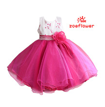 New Arrival Girls Lace Floral Belt Princess Dress Embroidery Layered Baby Girls Party Dress Wedding Dresses For Kids Baptism