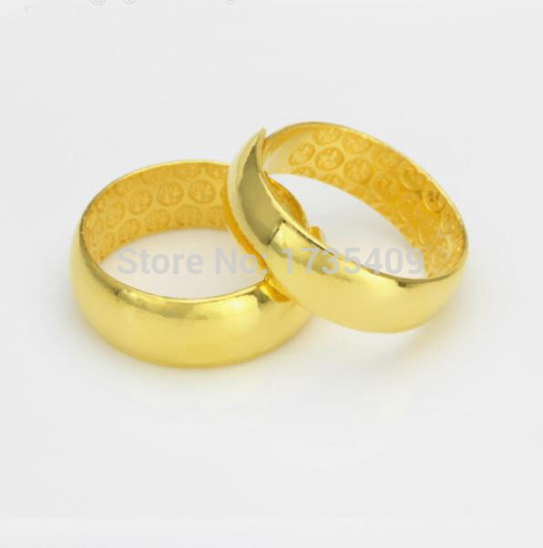 A Pair Of Pure 999 Solid 24K Yellow Gold Ring Men's Smooth Wedding Band pure 999 solid 24k yellow gold ring lucky men