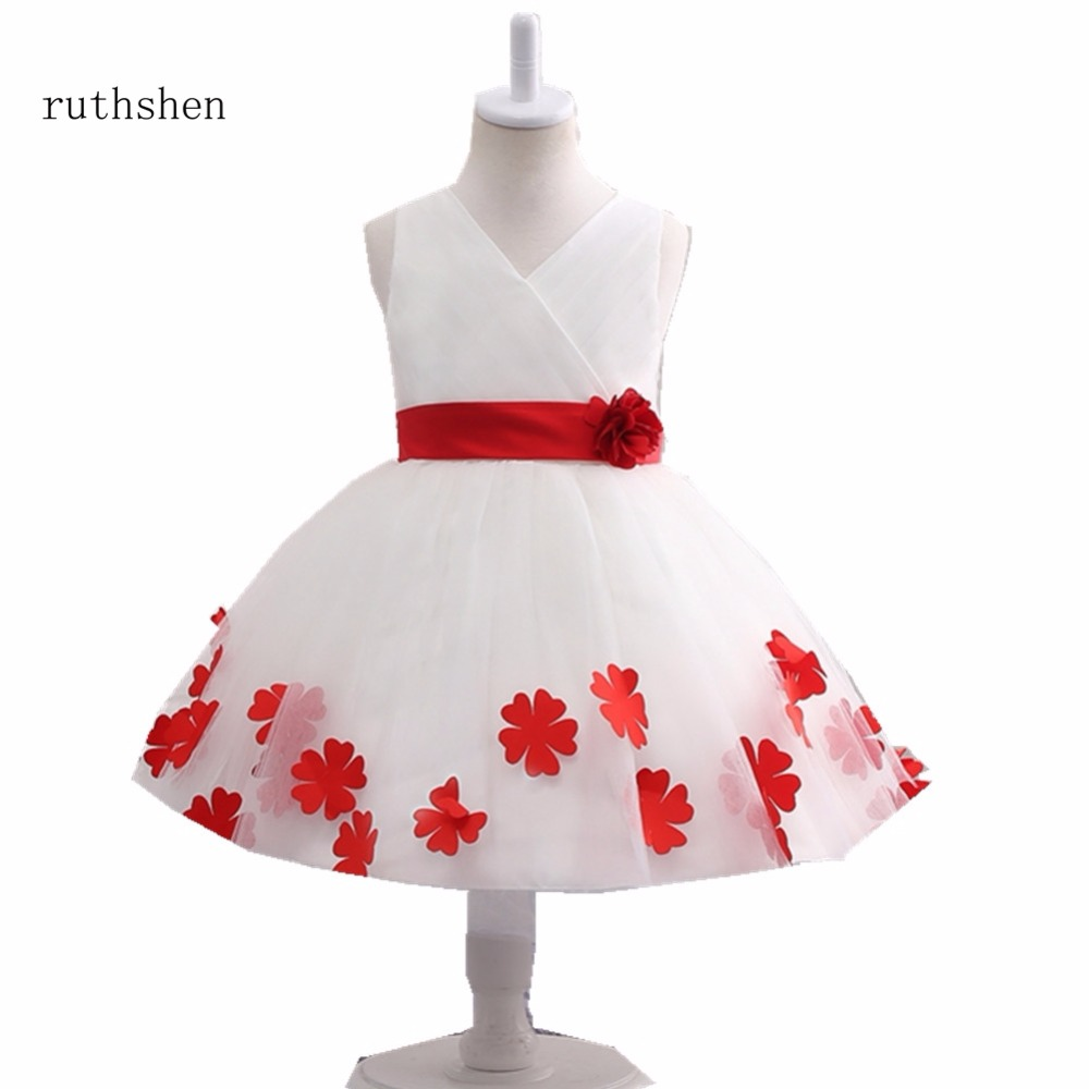 Ruthshen Baby Red Flowers Tutu Dress For Wedding With Ball Gown