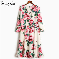 SVORYXIU 2017 High Quality Autumn Dress Women Butterfly Diamonds Embroidery Appliques Rose Floral Printed Runway Dress