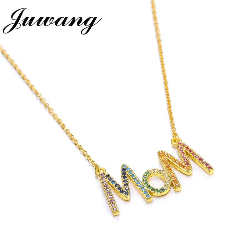 JUWANG multicolore mode 'MOM' breloque or pendentif collier Micro pavé Zircon lettre initiale colliers Couple nom collier 5
