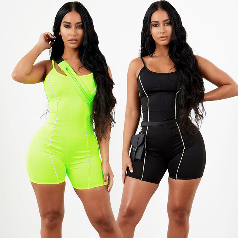New Reflective Workout Set Women Patchwork Elasticity Yoga Sets Fitness Clothes One-pieces Tight Sport Suit Women Sportwear