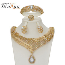 MUKUN 2018 Bridal fashion Gift Nigerian Wedding African Beads Jewelry Set Dubai Gold Color Necklace Jewelry Set Wholesale Design