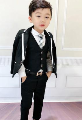 3PCS SET Boys Suits Weddings Kids Prom Suits Black blue Wedding Suits Boys Big Children Clothes