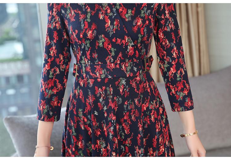 Autumn Winter New 3XL Plus Size Vintage Midi Dresses 2018 Women Elegant Bodycon Floral Dress Party Long Sleeve Runway Vestidos 45