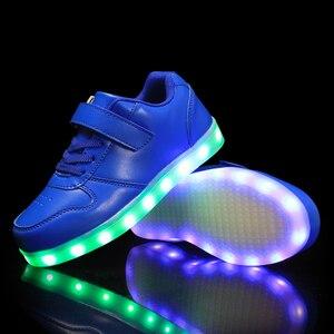 Image 4 - גודל 25 37 ילדי Led נעלי זוהר סניקרס ילד Krasovki עם תאורה אחורית USB אור עד נעלי סניקרס הזוהר עבור בני בנות