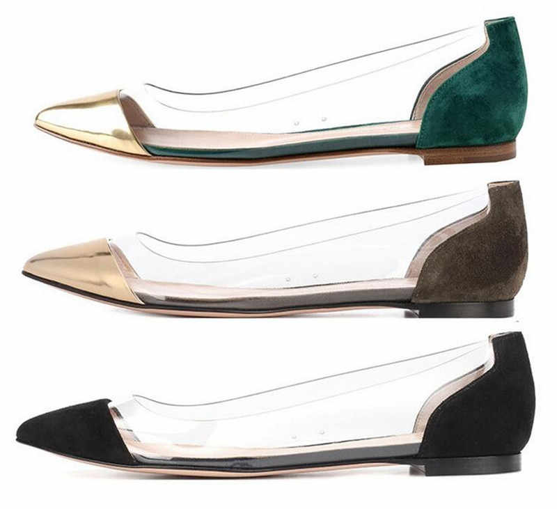 d2204119d2c 2019 Runway Pointed Toe PVC Women Transparent Flat Casual Shoes Luxury  Slip-On Clear Ballet Shoes Women Loafers Plus Size 35-42