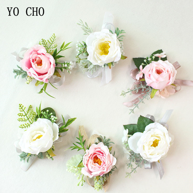 YO CHO Silk Roses White Pink Wrist Corsage Bracelets Bridesmaid Bracelet Flower Wedding Boutonnieres And Corsages Marriage Prom