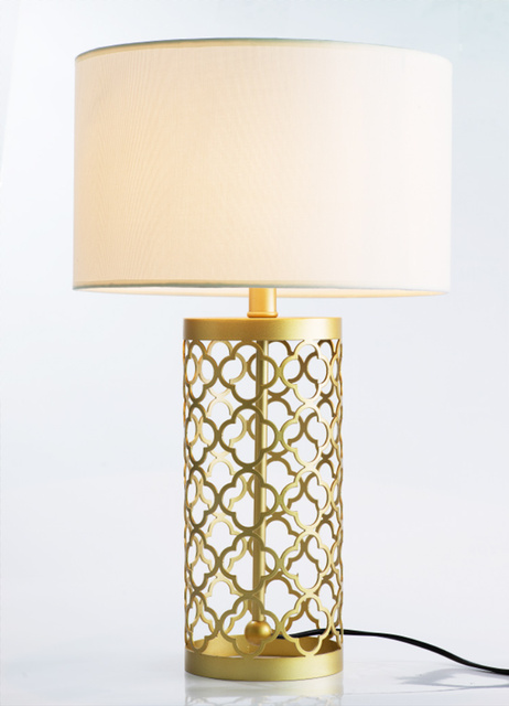 High Quality Simple Warm Golden Table Lamps Retro Creative American Style Lighting For Bedroom Foyer Hotel
