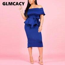 Women 2 Pieces Summer Slash Neck Off Shoulder Elegant Fold Over Peplum Top and Slinky Midi Dress Clubwear
