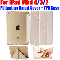 10X Ultrathin Smart Cover For IPad Mini Transform PU Leather Case TPU Translucent Back Case For