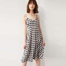 IRISIE Apparel Black Plaid Check Strap Dress Women's Clothing Backless Off Shoulder Female Vestido V Neck Sexy Cute Summer Dress