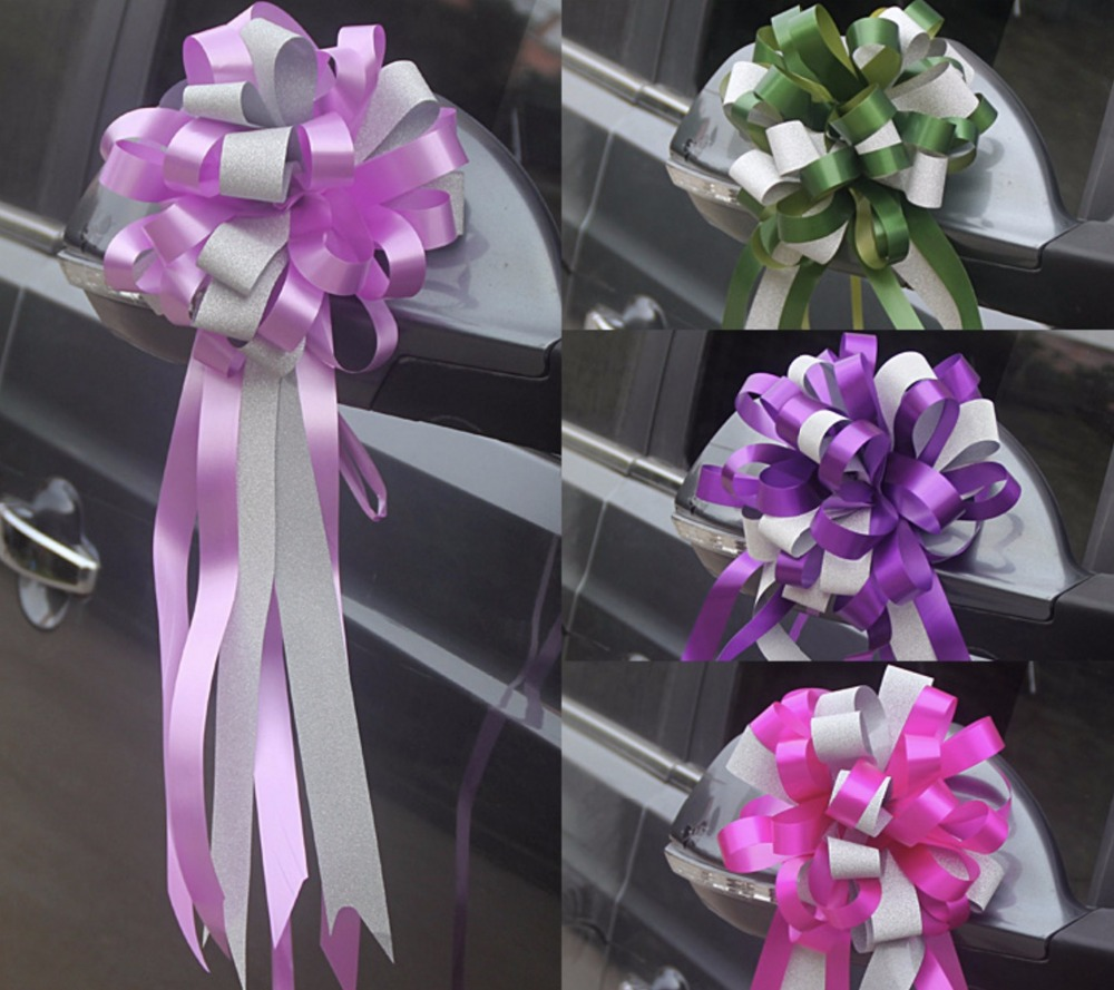 Beautiful luster two tone 55x150cm large pull bow ribbon flowers beautiful luster two tone 55x150cm large pull bow ribbon flowers for gift wrap packaging party wedding car decoration 30pcslot in party diy decorations izmirmasajfo