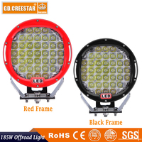 185W led work light 9 inch Round 12V LED OFFROAD LIGHTS Used FOR SUV ATV 4WD Spot flood beam Red black led driving lights x1pc