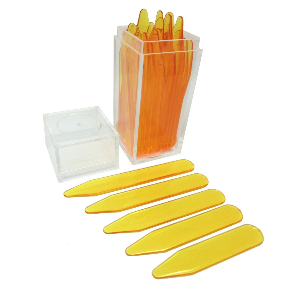 SHANH ZUN 30 ABS Yellow Color Plastic Collar Stays, 5 Sizes in a Plastic Box