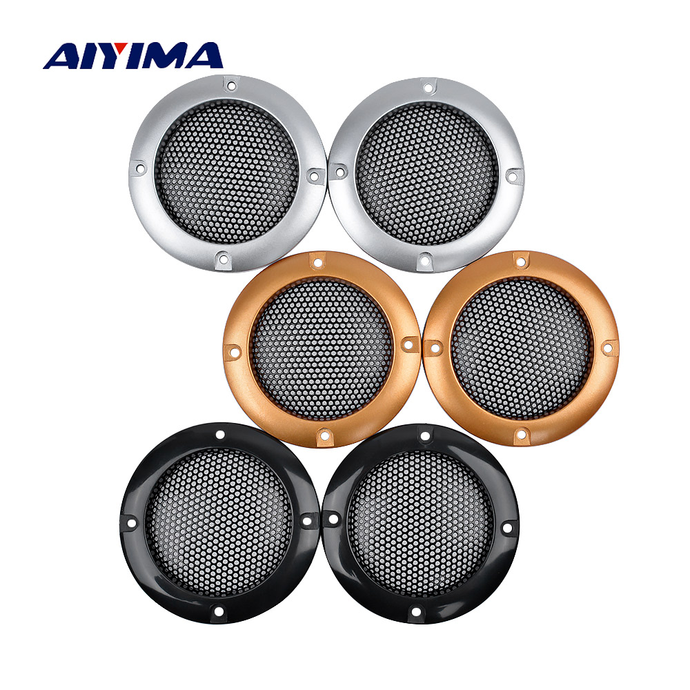 AIYIMA 2Pcs 2Inch Speaker Net Cover Gold Silver Black Car Subwoofer Mesh Enclosure Protective Grille Circle Speaker Accessories