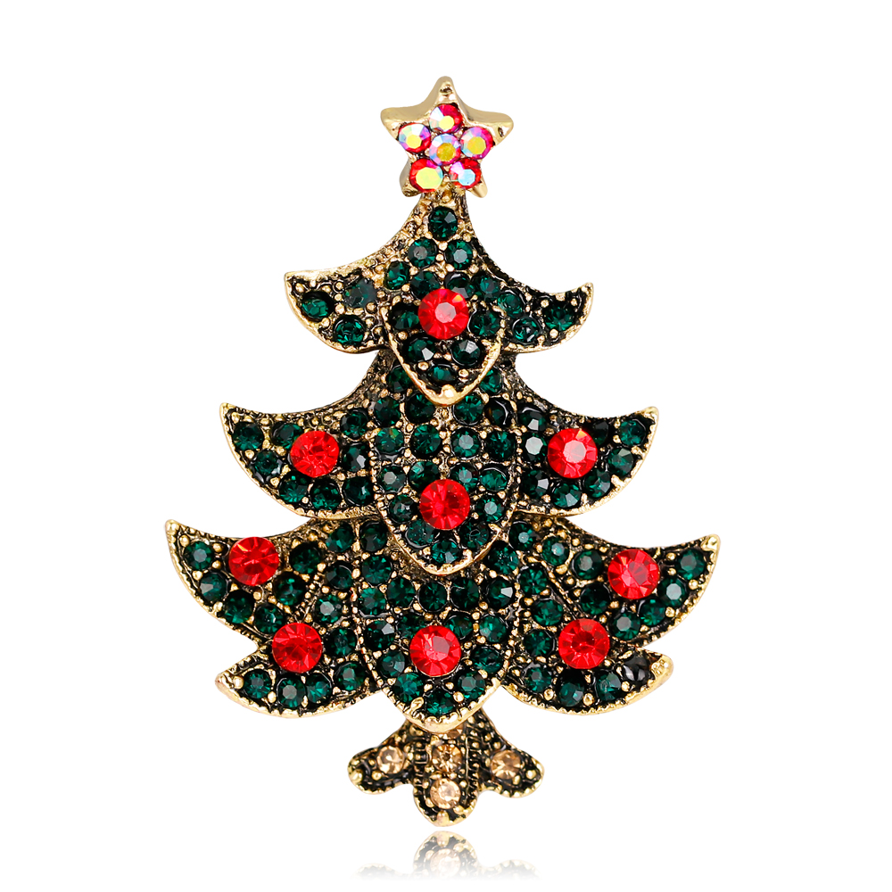 Vintage Style Antique Gold/Silver-Color Rhinestone Red Crystal Merry Christmas Tree Broo ...