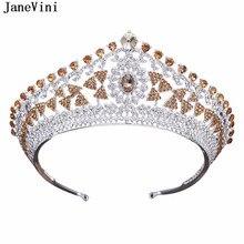 2ef3806ae7fd JaneVini de boda de lujo corona diadema Tiaras de diamantes de imitación joyería  nupcial de oro