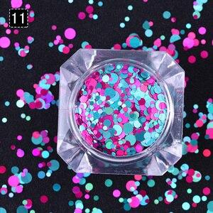 Image 4 - 1Box 2g Nail Art okrągłe kształty konfetti cekiny kolorowe brokat 1mm 2mm 3mm paznokci Paillette Flakies 8 kolory dostępne