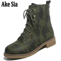 Ake Sia Fashion Camouflage Color Women Warm Snow Martin Ankle Boots Worker Bottine Platform Wedge Shoes