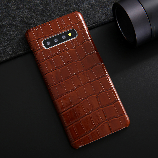 172017d7b For Samsung Galaxy S10 Plus Leather Case Luxury Crocodile Pattern Genuine  Leather Back Phone Case Cover