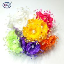 HL 6pcs/lot With Beads  Artificial Flower Bouquet Wedding Decoration Brand Flowers DIY Crafts