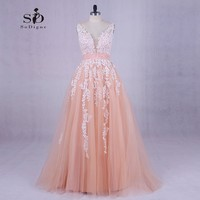 Wedding Dress 2018 Pink Lace Appliques Beaded V-neck Pictures Real Plus Size A-Line Custom made Long Prom Party Dress Hot Sale