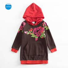 JUXINSU Cotton Girls Flower Long Sleeve Hooded Dresses Autumn Winter Casual Hooded Dress Clothing for Baby Girl 1-7 Years стоимость