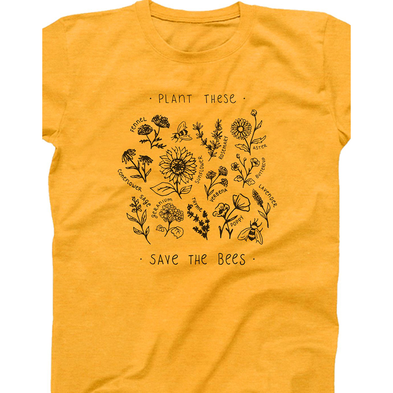 Plant These Harajuku Tshirt Women Causal Save The Bees T-shirt Cotton Wildflower Graphic Tees Woman Unisex Clothes Drop Shipping 35