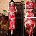 Estilo tradicional chino rojo de la boda Qipao largo trajes de novia vestido Formal