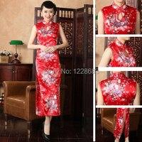 Tradycyjny Chiński Styl Czerwony Ślub Qipao Długa Kostiumy Suknia Dla Nowożeńców