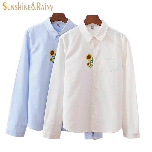 2016 Autumn Winter Korean Long Sleeved White Shirt Sunflower Embroidery All Match Oxford Blouses Lovely