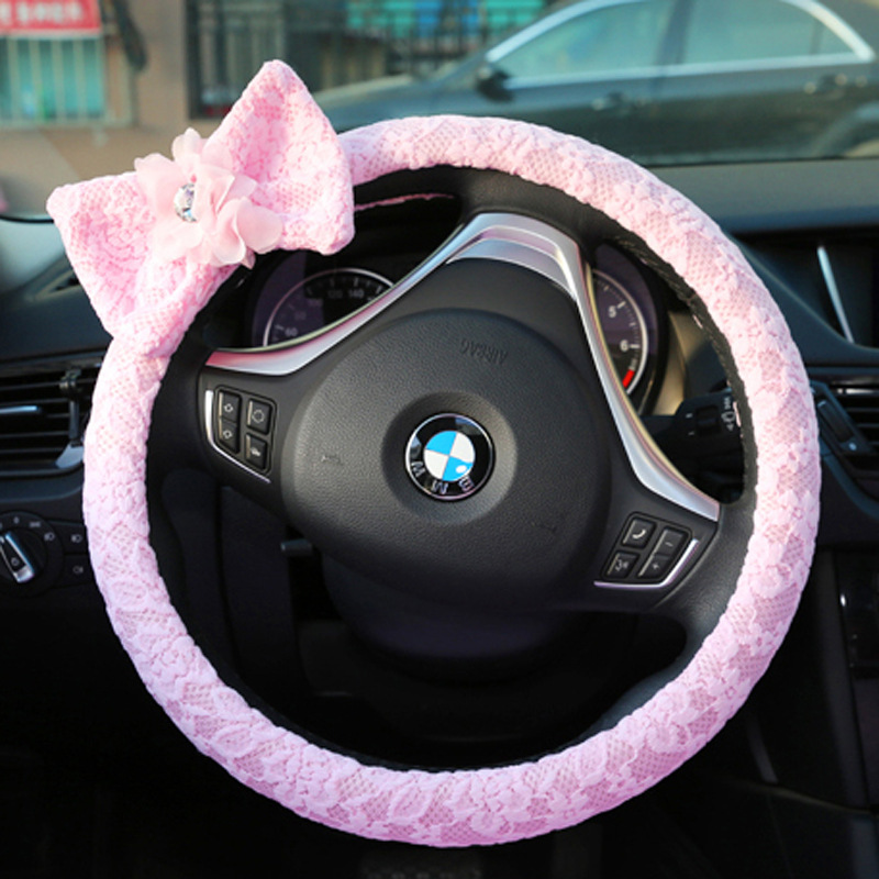 Fashion lace automotive steering wheel cover bowknot auto steering-wheels covers for car interior accessories for girls