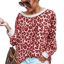 Loose Pullover Sweatshirts Printed Hoodies Tracksuits Streetwear Long-Sleeve Leopard