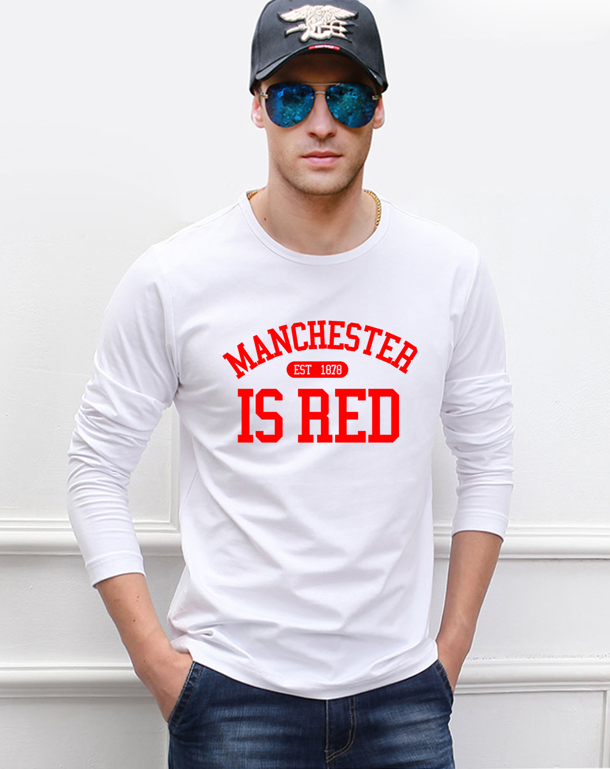 The <font><b>United</b></font> Kingdom <font><b>Manchester</b></font> is red men's long sleeve T-shirts 2016 autumn 100% cotton fitness hip hop Camisetas Masculina