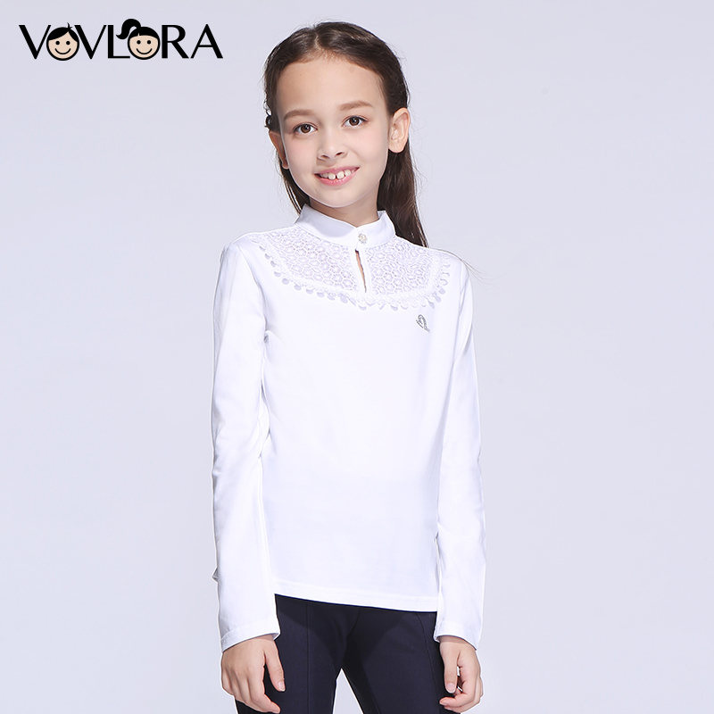 T shirt Girls Tops White Long Sleeve Cotton Turtleneck Girls T shirts Kids Fashion 2017 Children Clothes Size 9 10 11 12 13 14 Y