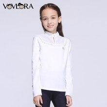 c3513f72734 VOVLORA 2018 Школьная блузка для девочек белая длинные рукава школьные  футболки для девочек детские с кружевом