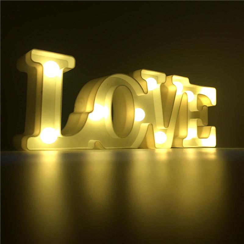 Luminaria Nightlight Led Love Letter Night Light Love Sign 3d Figure