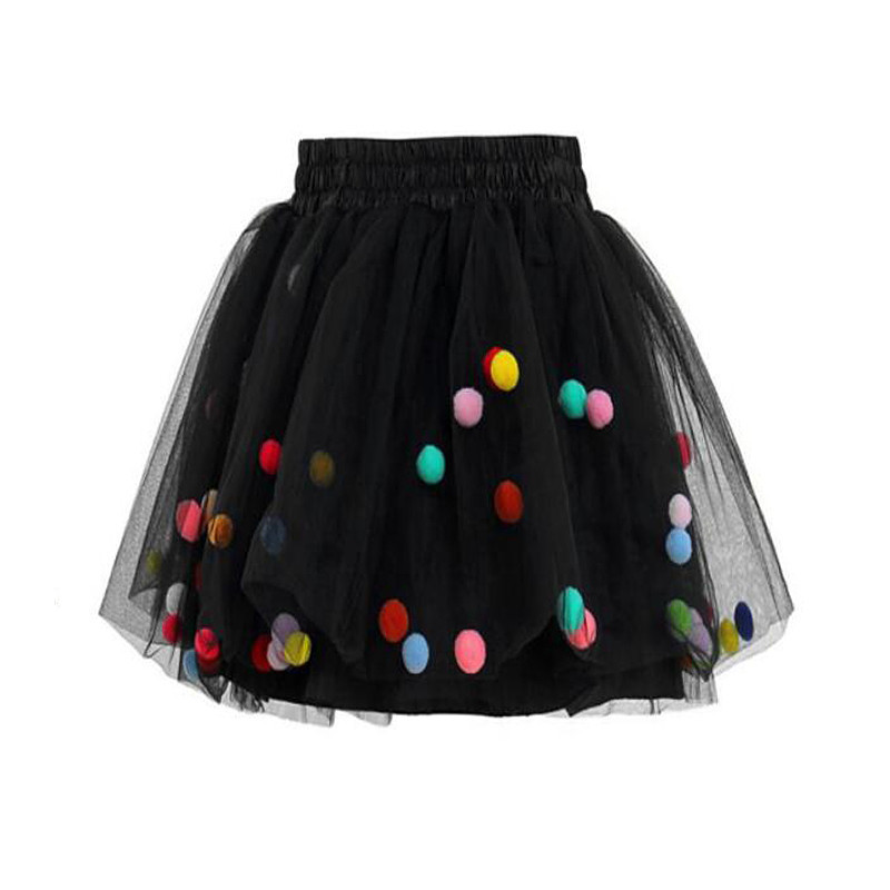 Colorful Baby Girls Prom Skirts Kids Elastic Waist Pompon Pe