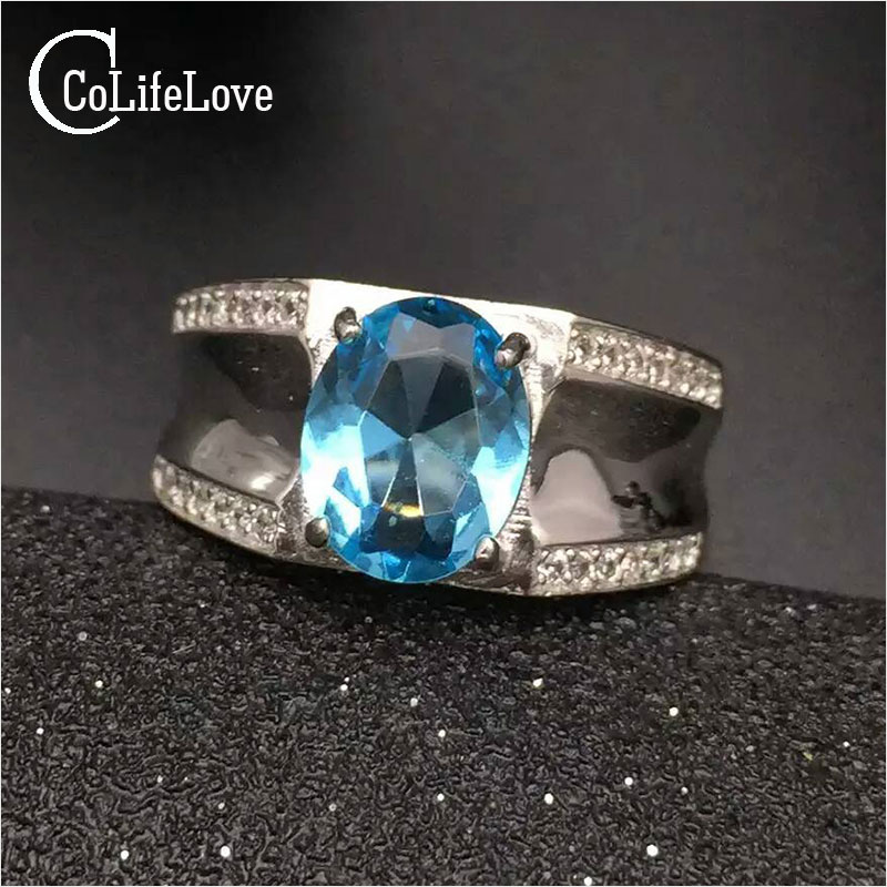 Fashion blue topaz ring for man solid 925 sterling silver man ring 100 natural 8*10mm topaz man classic silver jewelry for man man