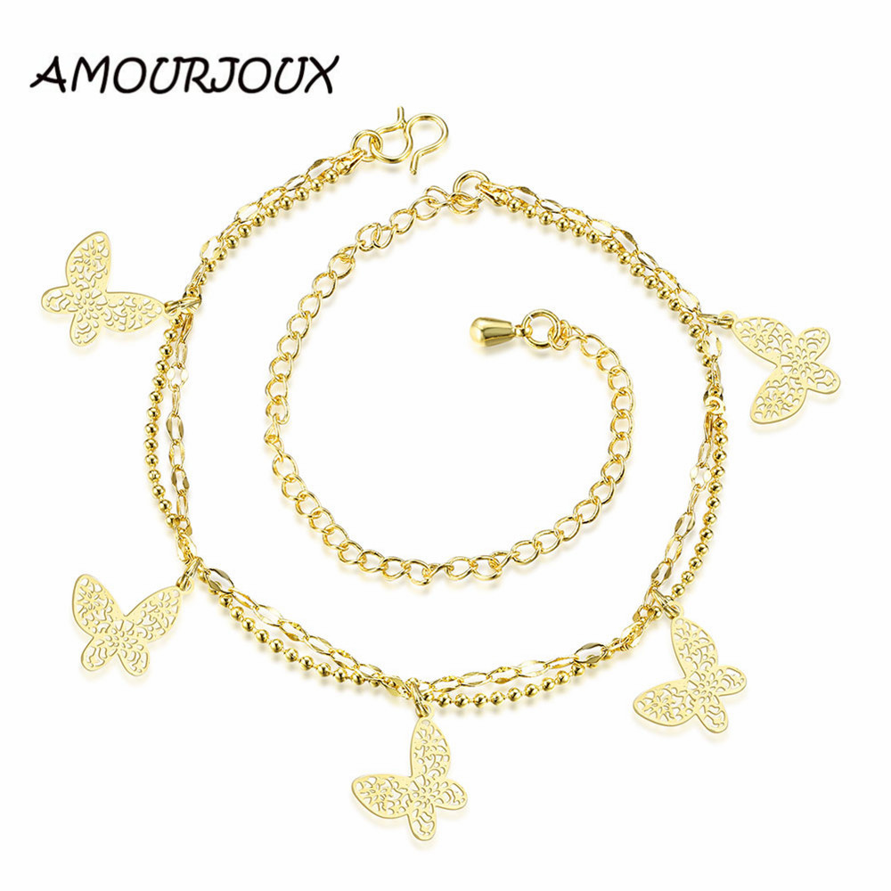 Amourjoux Hollowed Butterfly Trendy Charm Foot Anklet For Women Gold Ankle Bracelet  Female Gold Color Summer