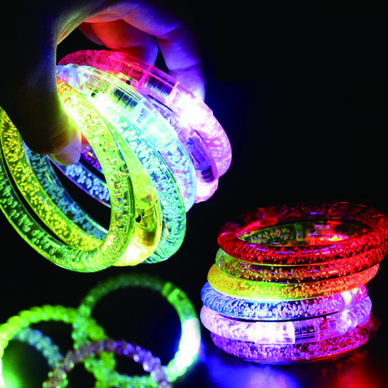 12pcsParty Led Bracelet Colorful changing LED Ankle bracelet  Light up Bracelet flashing acrylic glowing bracelet birthday Part (4)