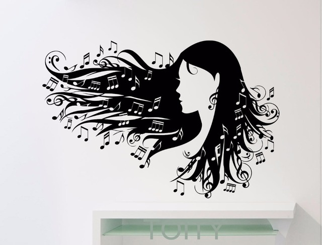 Notation Wall Stickers Women Flying Hair Treble Clef Music Notes - clef music
