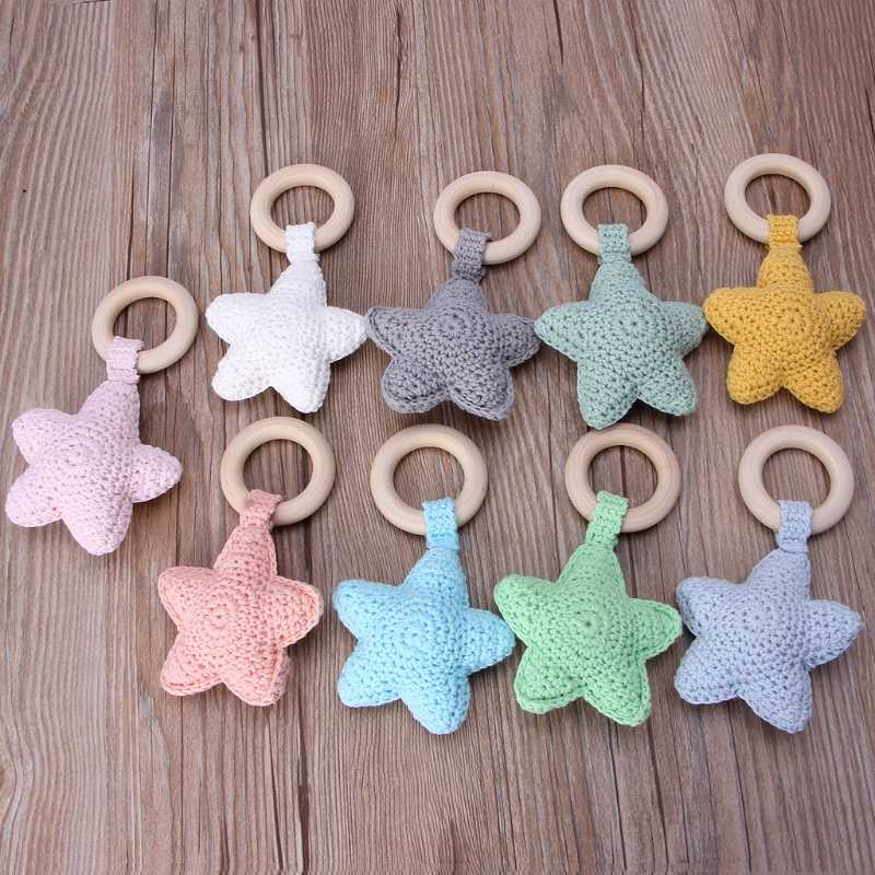 1 PC Bayi Teething Ring Chewie Teether Safety Kayu Alam Bintang Sensorik Mainan Hadiah